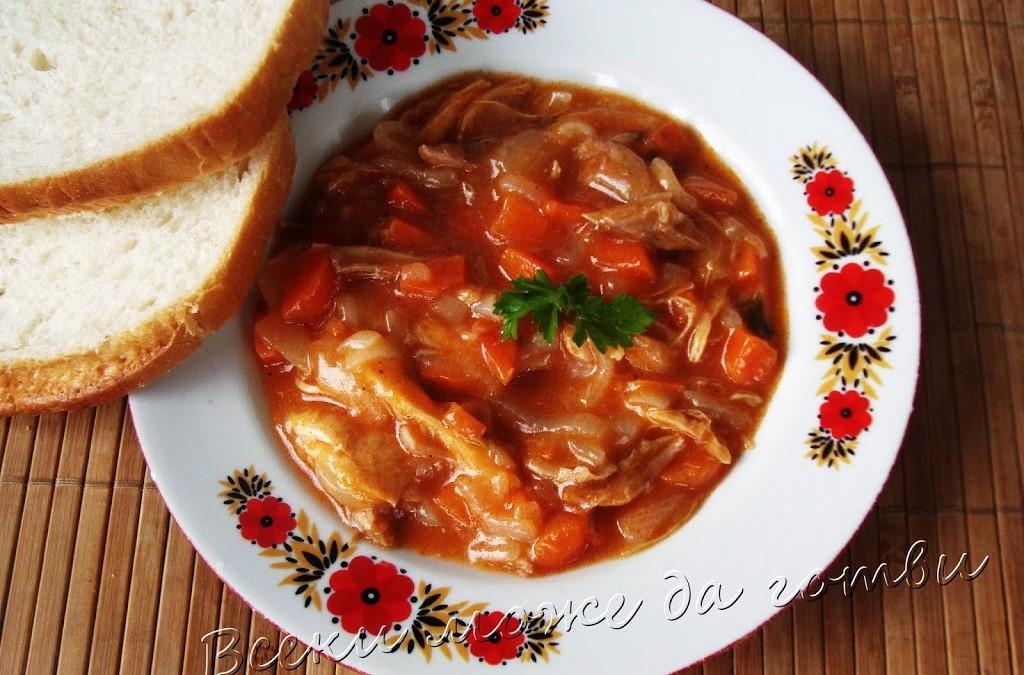 Пилешка каша с доматено пюре