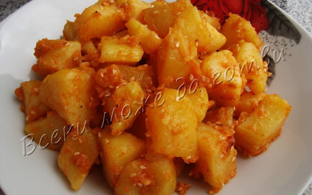 Картофи със сусам на тиган
