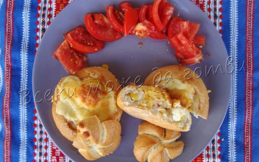 Пълнени хлебчета с топено сирене