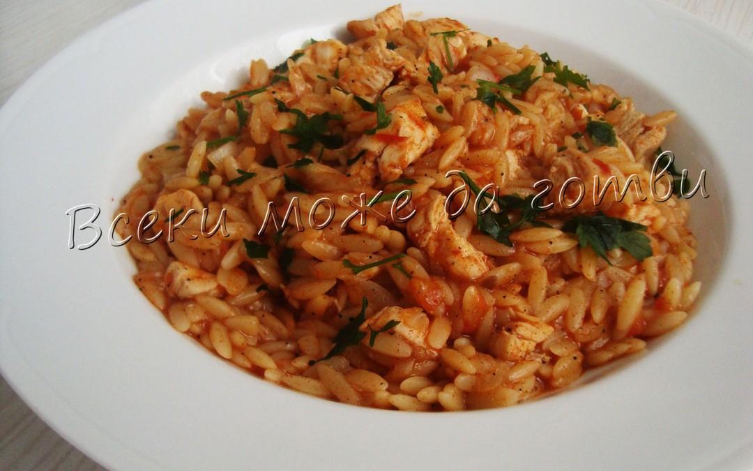 Критараки с пилешко месо и доматен сос