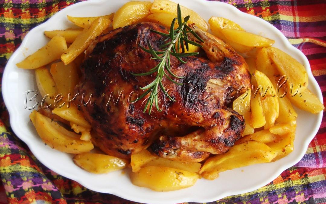 Печено пиле с ароматни подправки