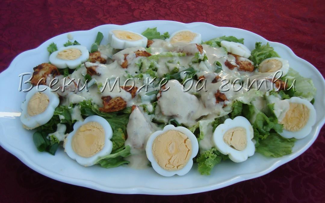 Чудно вкусна зелена салата с яйца, оформени като цветя