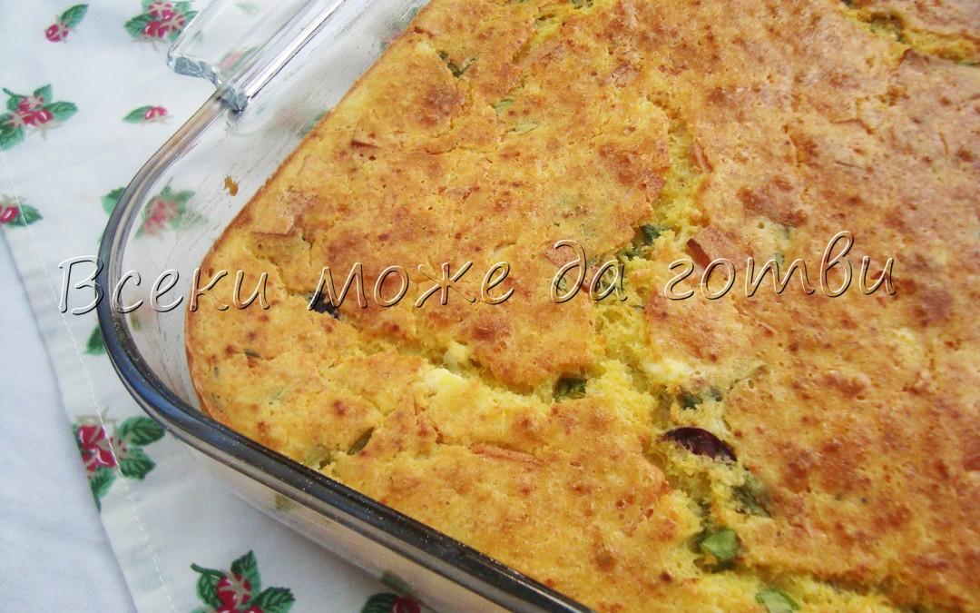 Мързелив солен кекс с яйца и кашкавал