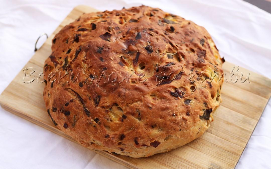 Божествен хляб без месене с 3 вида лук