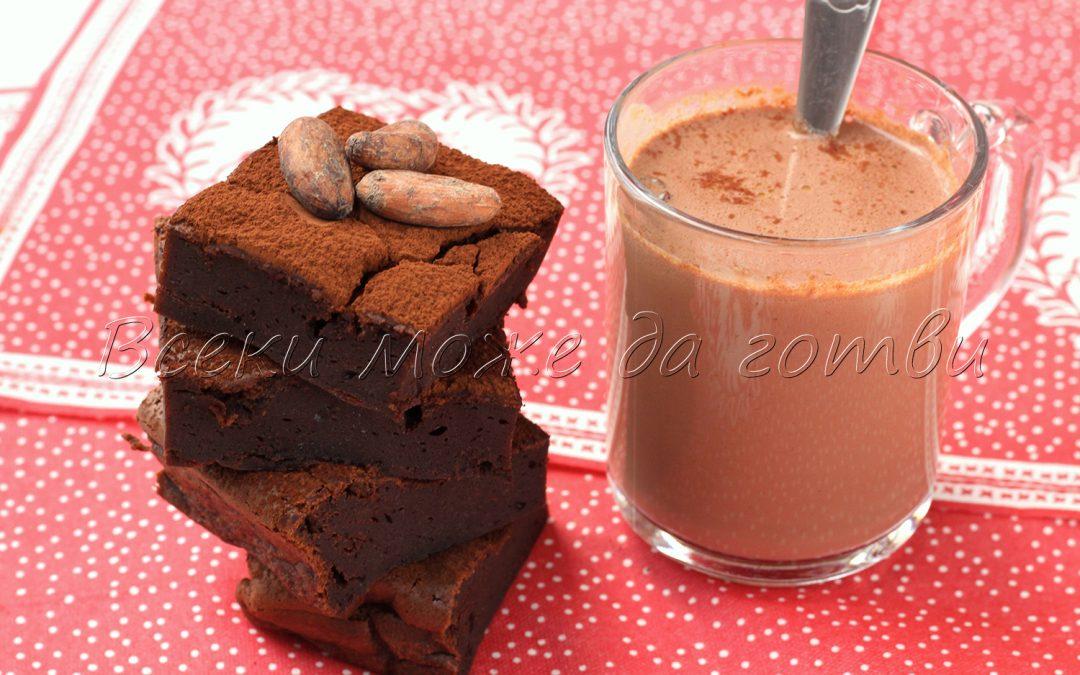 2 в 1: Рецепта за сладкиш без брашно + гъст и вкусен горещ шоколад
