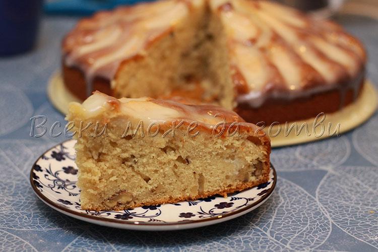 ябълков кекс с глазура