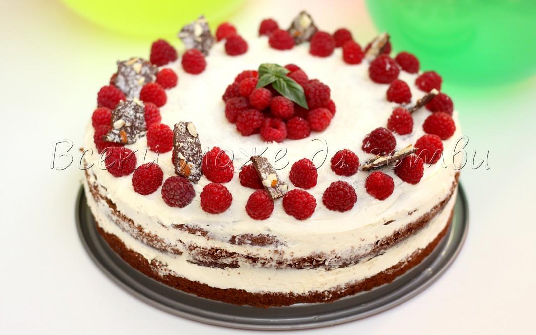 """Торта """"Виктория"""" с нежен чийз крем и сочни малини"""